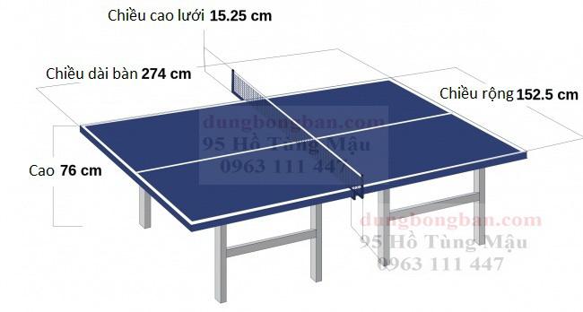 Kích thước, kích cở tiêu chuẩn của bàn đánh bóng bàn