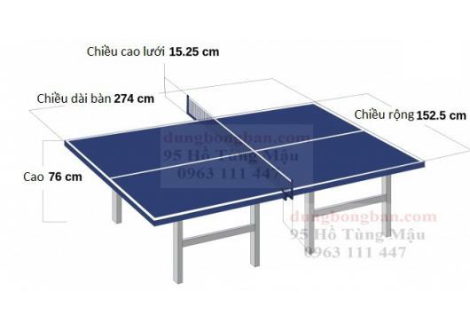 Kích thước, kích cỡ tiêu chuẩn của bàn đánh bóng bàn